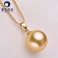 8.5-9MM AAA Genuine Akoya Cultured White Pearl Pendant 18K Solid Yellow Gold