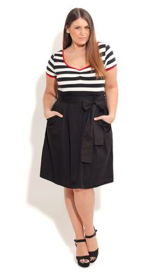 City Chic-CUTIE SAILOR DRESS- Women's Plus Size Fashion