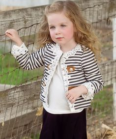 Look at this Dark Navy Stripe Button Jacket - Infant on #zulily today!
