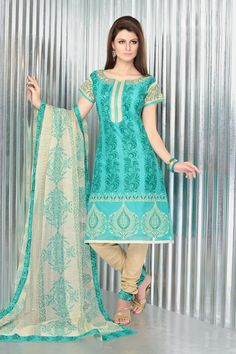 $51.74 Aqua Blue Printed Cotton Salwar Kameez 22383