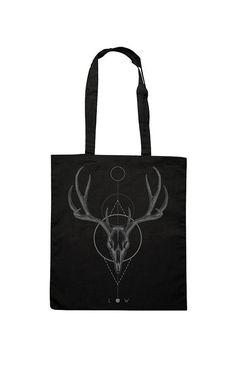Tote Cotton Bag, Canvas Shopper, Shopping bag, Print Deer Skull Geometric shapes