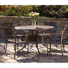 Tahoe Patio Dining Set Dining Table and 4 Dining Chairs Cast Aluminum Construction Dining Set, Patio Dining, Dining Chairs, Outdoor Tables, Outdoor Decor, Deck With Pergola, House Landscape, Patio Furniture Sets, Outdoor Living