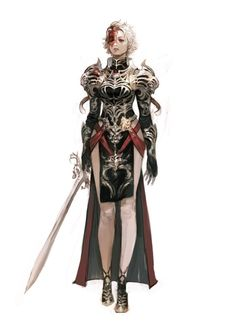 This character has the portrayal of both beautiful and grotesque features, which transitions well. between the scarred face and armor design, she appears somewhat demonic. The lightness of her features and grace in her pose, however, provide the gentle aesthetic.