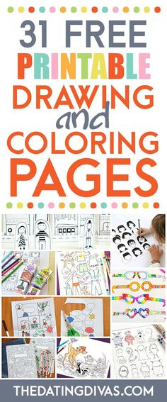 TONS of free coloring pages and drawing printables for kids. Pinning to keep the kids busy this summer!!! http://www.TheDatingDivas.com