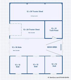 Barn Plans - Three Stall Horse Barn With Tack and Feed. Horse Barn Plans for sale. Large selection of Horse Barn Plans For Sale. Horse Shed, Horse Barn Plans, Horse Stables, Horse Farms, Small Horse Barns, Horse Barn Designs, Barn Layout, Barn Stalls, Goat Barn