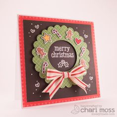 Lawn Fawn Trim The Tree & Peace Love Joy Wreath card by Chari Moss.