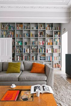 Gray living room ideas - how to get this shade right | Livingetc Living Room Tv Wall, Living Room Bookcase, Design Living Room, Living Room Grey, Living Room Decor, Living Rooms, Apartment Living, Home Libraries, Built In Bookcase