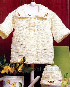 вязаное пальто для девочки жемчужина