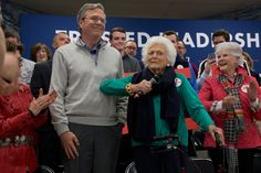 DERRY, N.H. 2/4/2016 Jeb Bush with his mother, the former first lady Barbara Bush, at a rally before the New Hampshire primaries. Stephen Crowley/The New York Times
