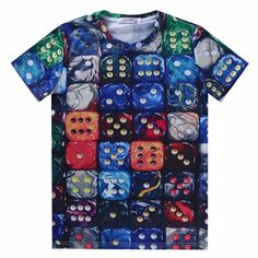 721db34b683d Price tracker and history of 3307 Fashion Retro Hot Harajuku cotton men  crew neck multicolor dice printing summer hiphop short sleeve T-shirt