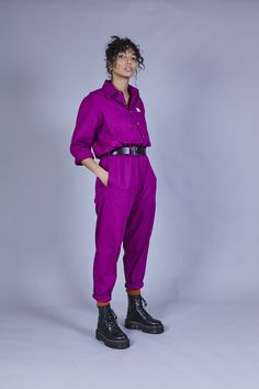 'Frankie' Oversized Organic Boilersuit in Raspberry Unisex Fashion, Suit Fashion, Fashion Outfits, Work Fashion, Ethical Clothing, Ethical Fashion, Dungaree Dress, Dungarees, Boiler Suit