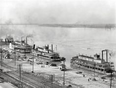 Historic Memphis Cobblestone Landing and Riverfront. 3 Steamers. 1900