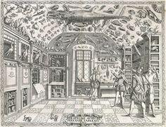 """Incisione tratta dalla """"Historia Naturale"""" di Ferrante Imperato, Napoli 1599. E' la prima illustrazione raffigurante un Gabinetto di Storia Naturale"""