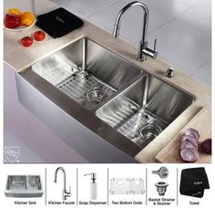 "Kraus KHF203-33-KPF1622-KSD30 32-7/8"" Undermount 60/40 Double Bowl 16 Gauge Stainless Steel Kitchen Sink with Pullout Spray Kitchen Faucet and Soap Dispenser"