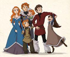The Stark Kids; Sansa, Robb, Bran, Rickon, John Snow, & Arya from Game of Thrones