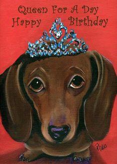 Dachshund Art, Funny Dachshund, Daschund, Dachshunds, Birthday Wishes Greetings, Birthday Sentiments, Birthday Words, Dog Birthday, Happy Birthday Images
