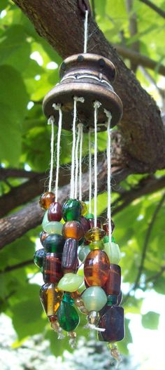 Earthy Glass Beads Sun Catcher / Wind Chime by K3Creations on Etsy, $10.99