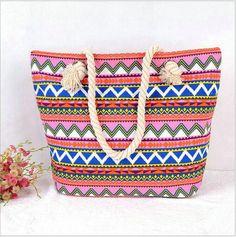Chevron ZIGZAG STRIPED LARGE CANVAS TOTE BAG - Women Summer Casual Cord Shoulder Bag Beach Handbag