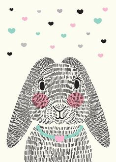 bunny rabbit with repeating line texture
