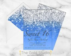 Sweet 16 invitation Sweet sixteen Pink Glitter by TheGoldStudio