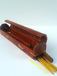 "Coffin Box DRAGONS Incense Burner 12"" for Incense Sticks & Cones #WoodenHandicrafts"