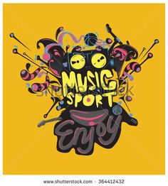 design vector colorful sport and music poster