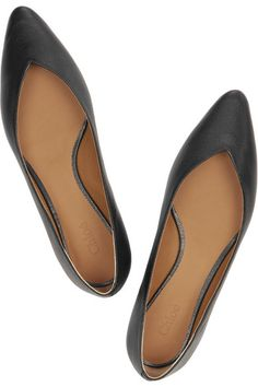 textured-leather flats / chloe