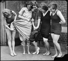 Evolution of the female swimsuit. From left to right - 1932, 1890, 1900, 1910 and 1920.