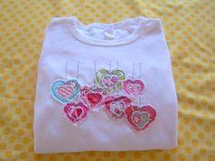 Custom Frayed Hanging Hearts Infant Bodysuit or Girls Applique Shirt on Etsy, $24.00