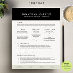 Word Resume & Cover letter Template by Profilia Resume Boutique on Resume Cover Letter Template, Letter Template Word, Best Resume Template, Creative Resume Templates, Cv Template, Design Templates, Resume Advice, Resume Cv
