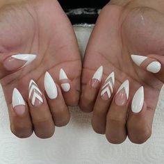 White nail art on stiletto shaped nails.  by thenailbarsydney http://ift.tt/1NRMbNv
