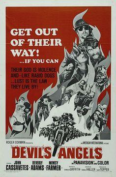 Devil's Angels Original Movie Poster Corman Cassavetes their god Biker Movies, Cult Movies, Action Movies, Mafia, Mimsy Farmer, Angel Movie, John Cassavetes, Roger Corman, Hell On Wheels