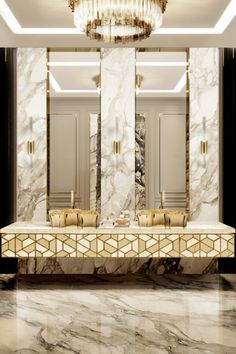 Simple, golden, and incredibly striking, this bathroom is a modern twist on classicism that takes on a journey into absolute luxury. Shop Furniture Online, Luxury Furniture Brands, Bespoke Furniture, Bathroom Design Inspiration, Classic Bathroom, Bathroom Trends, Bathroom Ideas, Interior Design Magazine, Contemporary Bathrooms