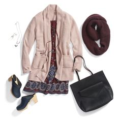Winterize a spring dress with a knit cardigan and thick infinity scarf in warm tones.