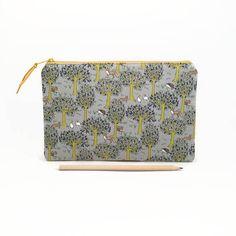 Clutch purse Zipper Pouch Woodland creatures Zipper clutch