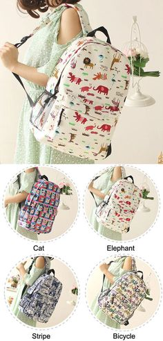 1443b9a5087091 Fresh Sweet Graffiti Bicycle Animal Cat Canvas Backpack for big sale !  #sweet #cat