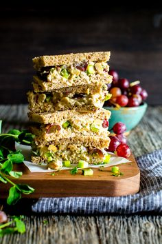 Vegetarian Smashed Chickpea Salad with Pecans and Grapes
