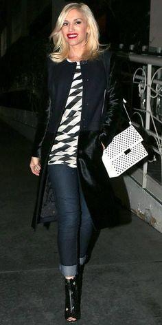 Gwen Stefani carrying - Stella McCartney  perforated Beckett handbag in LA, from the spring 2014 collection