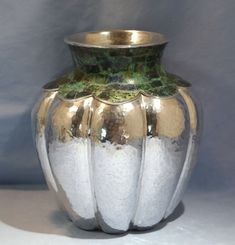 """Lily Castillo - post 2000 handmade sterling silver vase with azur-malachite inlay at top - measures 8-1/4"""" tall by 7"""" diameter, and weighs 1200 grams. Marked """"Lily Castillo Mexico"""" above """"Los Castillo Taxco"""" in a circle, above """"TA-01 925""""."""