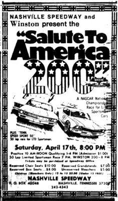 Bench Racing From The Volunteer State April 17 1976 Nashville S New Season Begins Nashville News Nashville Seasons