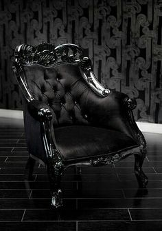 4009 Black velvet Baroque tufted chair with Swarovski Crystals Gothic Furniture, Unique Furniture, Furniture Decor, Eclectic Furniture, Dream Furniture, Black Furniture, Funky Furniture, Furniture Online, Furniture Design
