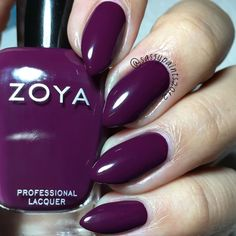 @zoyanailpolish Tara: is a purple plum with a balanced tone between red and purple from the Urban Grunge one coat creams fall 2016 collection.  This is a super old pic I never got around to posting which is why my nails are so short. Just trying to clear out my digital albums.  #cute_polish #dailydigits #iloveyournailss #nailporn #nailpolish #nailstagram #nailsofinstagram #queennails #realnails #stilettonails #sassypaints2012 #SassyPaintsZoya #ZoyaNailPolish