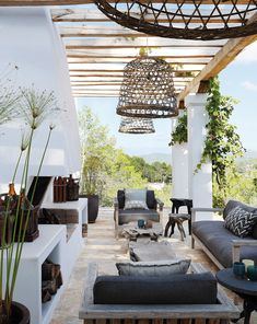 This remarkable farmhouse style home was designed by Oscar E Flores Design Studio and built by Todd Glowka Builder, located on a sprawling. Outdoor Areas, Outdoor Rooms, Outdoor Living, Outdoor Decor, Ibiza Style Interior, Ibiza Fashion, Outside Living, House In The Woods, Villa