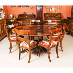 A beautiful dining set comprising a Regency style flame mahogany dining table made by the master cabinet makers Millwood and a set of 6 bespoke dining chairs. Formal Dining Set, Round Dining Room Sets, Buy Dining Table, Mahogany Dining Table, Fabric Dining Chairs, Dining Room Furniture, Cheap Modern Furniture, Mahogany Furniture, Table And Chair Sets