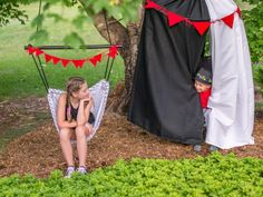 Find out how to make an easy no-sew mini circus tent and a simple hammock swing… Kids Hammock, Hammock Swing Chair, Kids Swing, Swinging Chair, Backyard Projects, House Projects, Fearless Photography, Paper Folding Techniques, Make A Paper Airplane