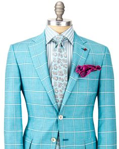 Isaia | Aqua Windowpane Sportcoat | Apparel | Men's