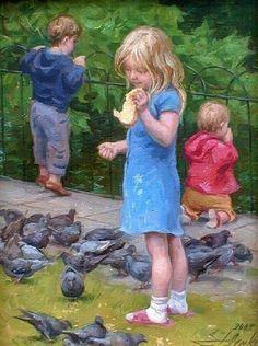 Feeding Pigeons, St. Stephen's Green by Serguei Zlenko (1960, Georgian)