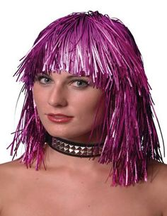 Cyber Tinsel Wig Pink