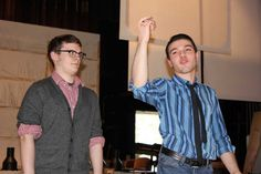 Albany High School seniors Nick Gardner, left, and Alejandro Torres rehearse a scene from My Fair Lady, which opens April 26. (Courtesy Albany High School)