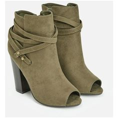 Justfab Booties Thania ($40) ❤ liked on Polyvore featuring shoes, boots, ankle booties, green, high heel ankle boots, ankle boots, open toe ankle boots, green boots and platform ankle boots